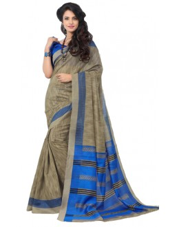Party Wear Grey & Blue Art Silk Saree - RKAP8901