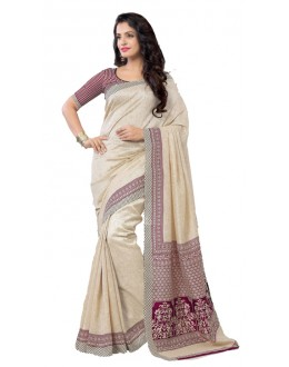 Party Wear Beige & Maroon Art Silk Saree - RKAP8902