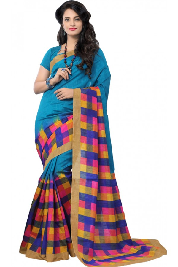 Party Wear Blue Art Silk Saree - RKAP8903