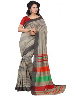 Casual Wear Grey & Red Art Silk Saree - RKAP8904