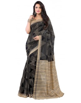 Casual Wear Black & Beige Art Silk Saree - RKAP8905