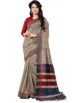 Ethnic Wear Grey & Red Art Silk Saree - RKAP8908