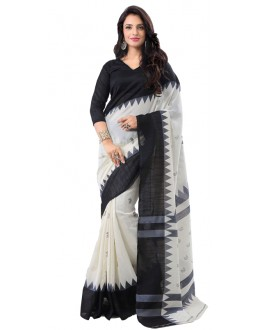 Partyl Wear Black & White Art Silk Saree - RKAP8910