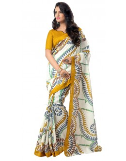 Party Wear White & Yellow Art Silk Saree - RKAP8912
