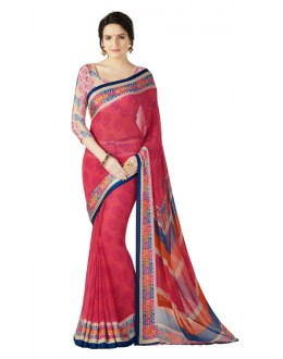 Casual Wear Multicolour Georgette Satin Saree  - RKKR1416