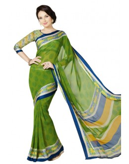 Casual Wear Green Georgette Satin Saree  - RKKR1417