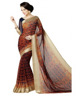 Casual Wear Multicolour Georgette Satin Saree  - RKKR1421