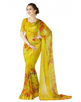 Casual Wear Yellow Georgette Satin Saree  - RKKR1427