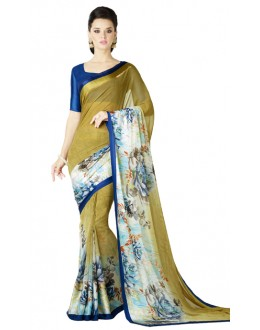 Casual Wear Multicolour Georgette Satin Saree  - RKKR1430
