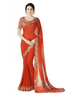 Casual Wear Orange Georgette Satin Saree  - RKKR1432