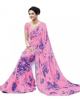 Casual Wear Pink Georgette Saree  - RKLP4232