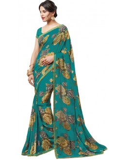 Casual Wear Dark Green Georgette Saree  - RKLP4244