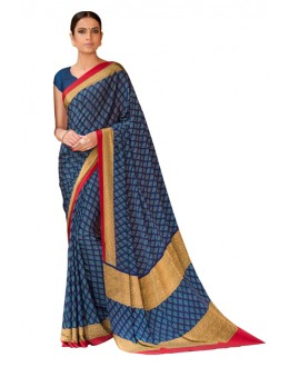 Party Wear Dark Blue Crepe Saree  - RKLP4449