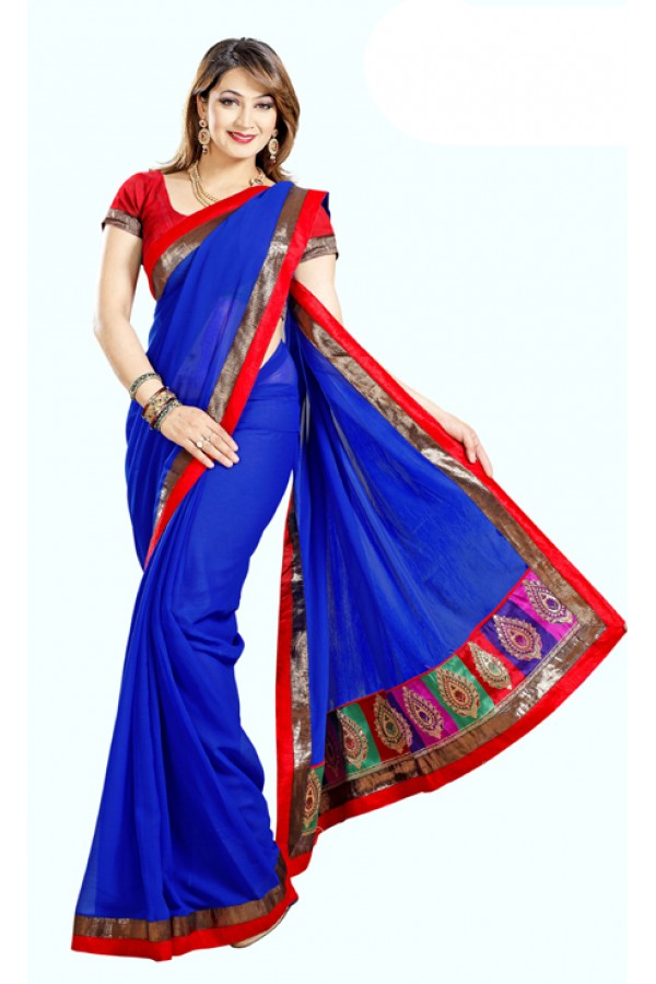 Party Wear Royal Blue & Maroon Saree  - RKMF327