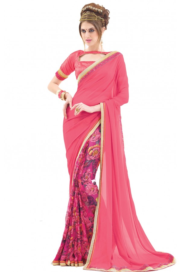 Casual Wear Pink Georgette Saree  - RKNK1002