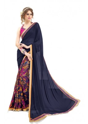 Casual Wear Blue & Pink Saree  - RKNK1005