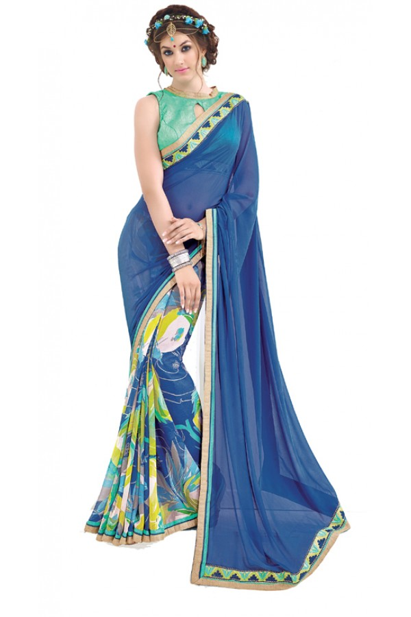 Casual Wear Blue & Light Green Saree  - RKNK1008