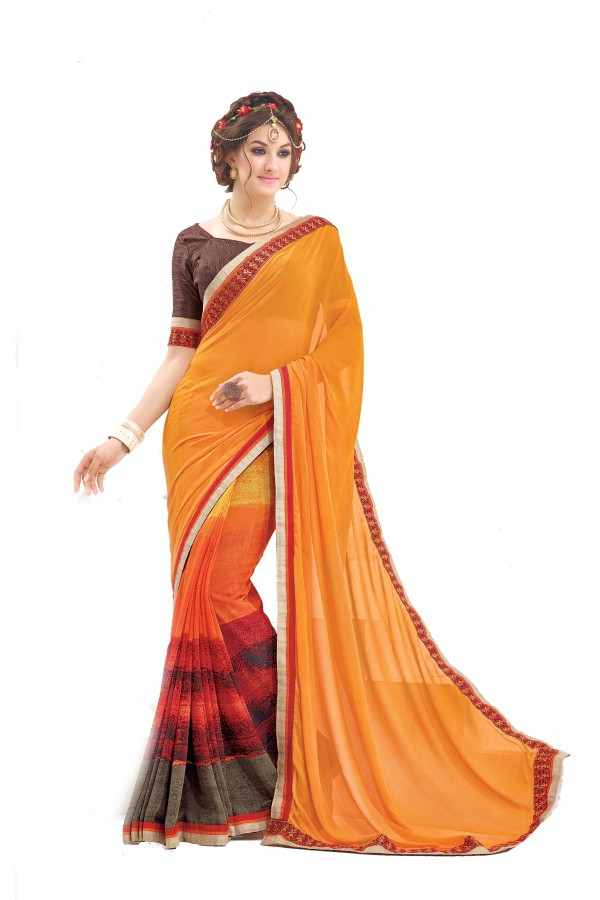 Casual Wear Multicolour Georgette Saree  - RKNK1009