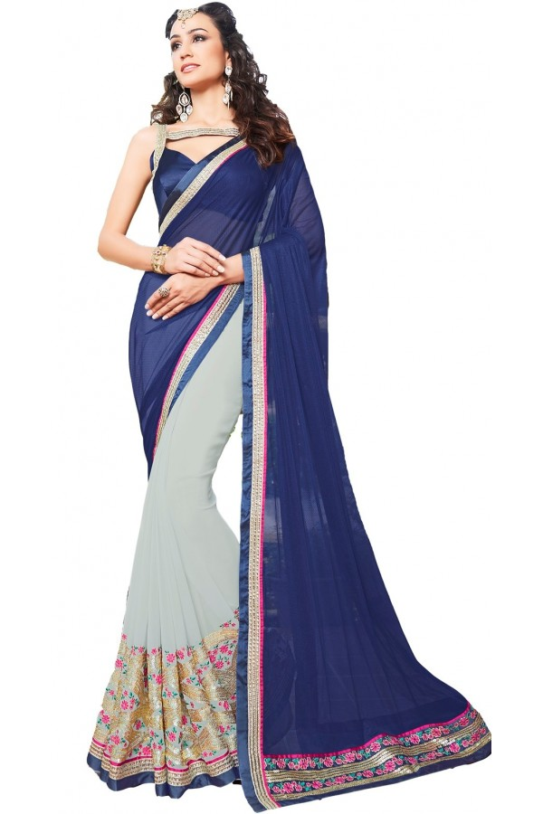 Ethnic Wear Blue & Grey Satin Saree  - RKSAOL208