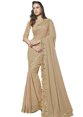 Party Wear Beige Georgette Saree  - RKSAOL221