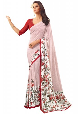 Party Wear Off White & Red Saree  - RKSARD412