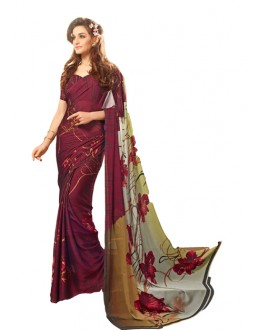 Casual Wear Maroon Georgette Saree  - RKSARD414