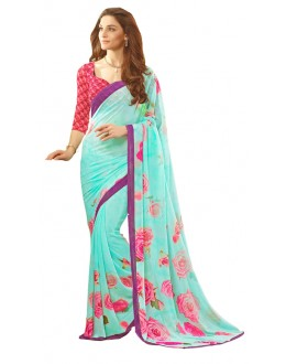 Casual Wear Sky Blue & Red Saree  - RKSARD418