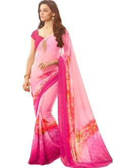 Casual Wear Pink Georgette Saree  - RKSARD420