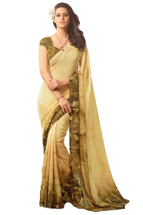 Casual Wear Beige & Green Saree  - RKSARD421