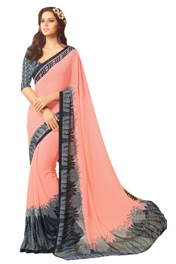 Casual Wear Peach & Black Saree  - RKSARD423