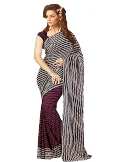 Casual Wear Maroon & Black Saree  - RKSARD427