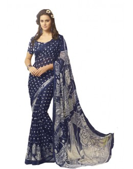 Casual Wear Blue Georgette Saree  - RKSARD431
