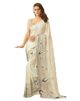 Casual Wear White & Grey Saree  - RKSARD434