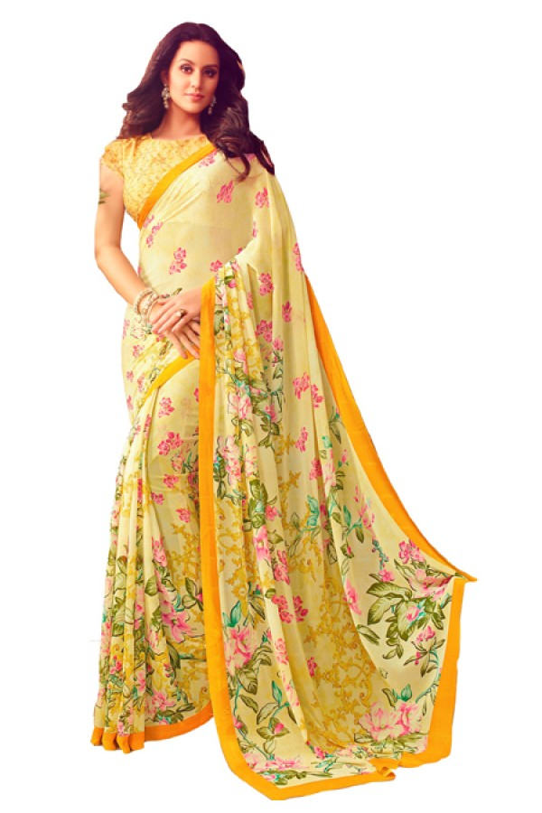 Party Wear Yellow Georgette Saree  - RKSARD435