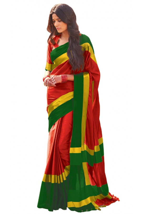 Party Wear Red Cotton Blend Saree  - 501