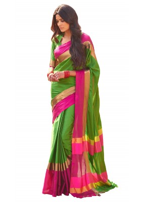 Festival Wear Green & Pink Cotton Blend Saree  - 502