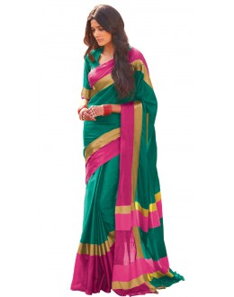 Ethnic Wear Green & Pink Cotton Blend Saree  - 503