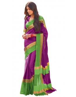 Festival Wear Purple & Green Cotton Blend Saree  - 504