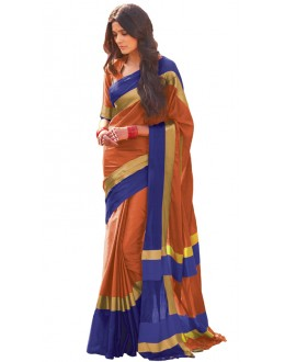 Ethnic Wear Orange & Blue Cotton Blend Saree  - 506