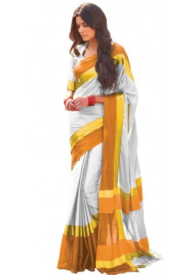 Ethnic Wear Silver & Yellow Cotton Blend Saree  - 507