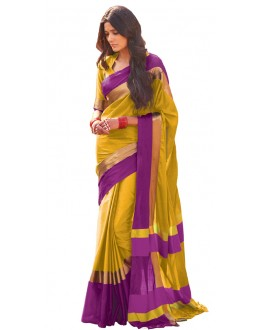 Festival Wear Golden & Purple Cotton Blend Saree  - 508