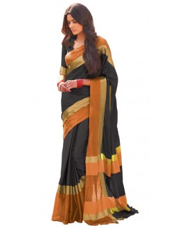 Ethnic Wear Black & Orange Cotton Blend Saree  - 509