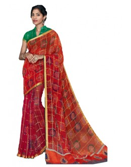 Casual Wear Multicolour Georgette Saree  - RKVI17003