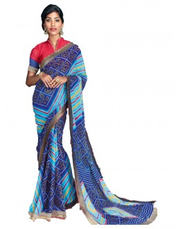 Casual Wear Multicolour Georgette Saree  - RKVI17004