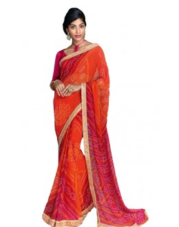 Casual Wear Orange & Red Saree  - RKVI17005