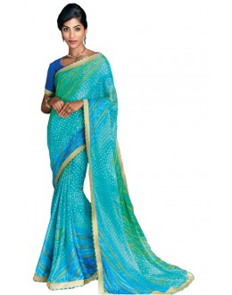 Casual Wear Light Blue Georgette Saree  - RKVI17008