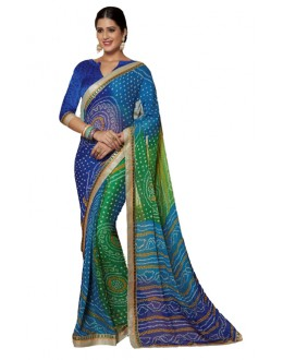 Casual Wear Blue & Green Saree  - RKVI17010