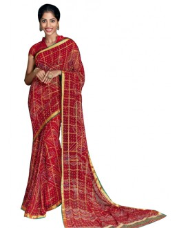 Casual Wear Red Georgette Saree  - RKVI17011