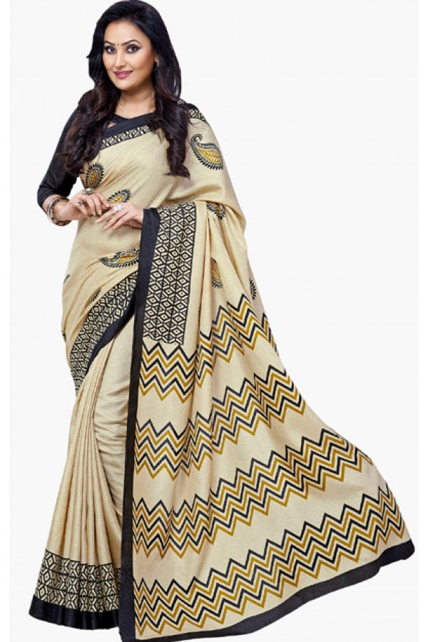 Ethnic Wear Beige & Black Dupion Silk Saree  - RKVI6001