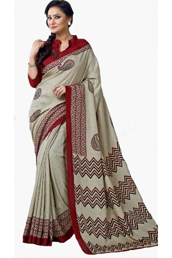 Festival Wear Grey & Maroon Dupion Silk Saree  - RKVI6002